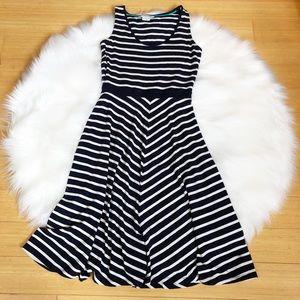 Boden Erin Navy Chevron Jersey Dress Sz 6